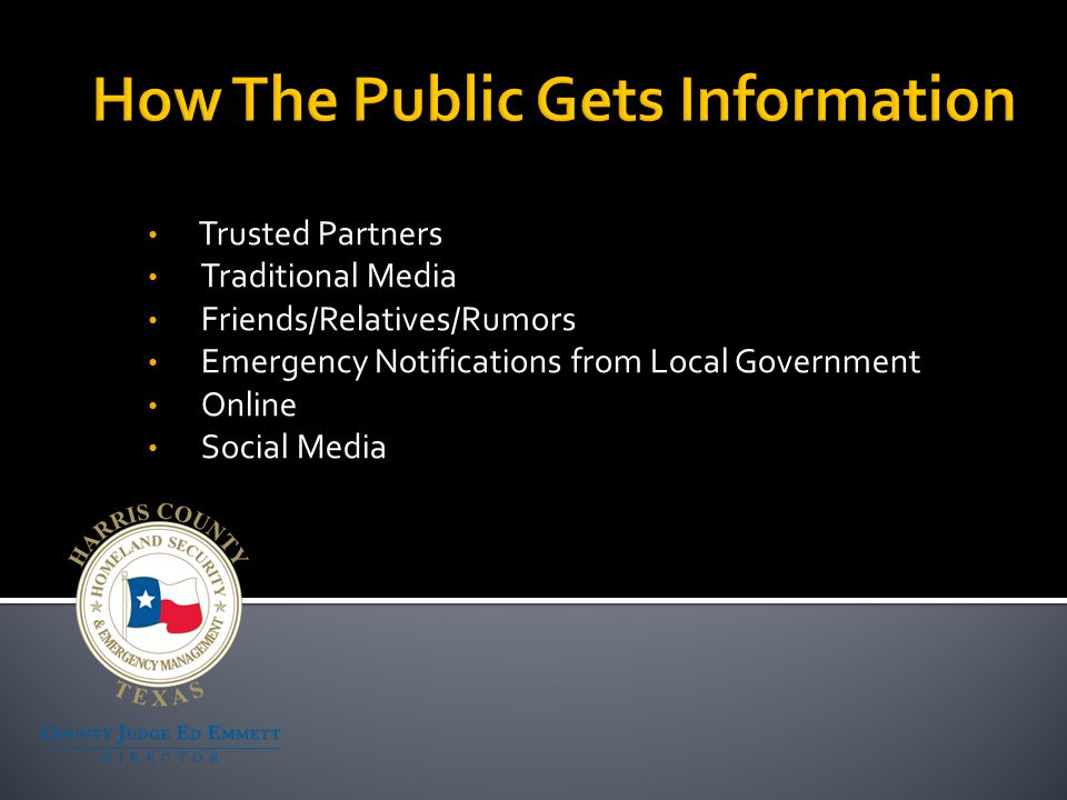 The public's need for disaster information exceeds our ability to provide it Need to know is a constant issue Information must be analyzed and verified before it can be distributed The public is now a player in the game Risk of rumors becoming the accepted facts is high Little tolerance for error