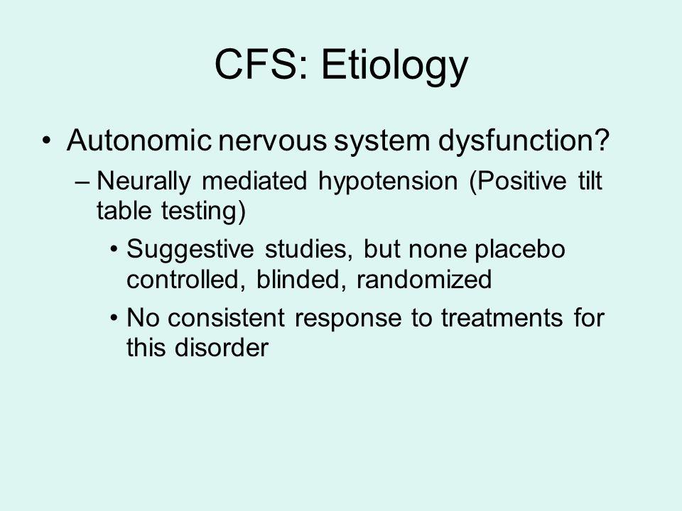 CFS: Etiology Autonomic nervous system dysfunction.