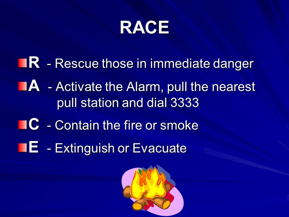 RACE R - Rescue those in immediate danger A - Activate the Alarm, pull the nearest pull station and dial 3333 C - Contain the fire or smoke E - Exting