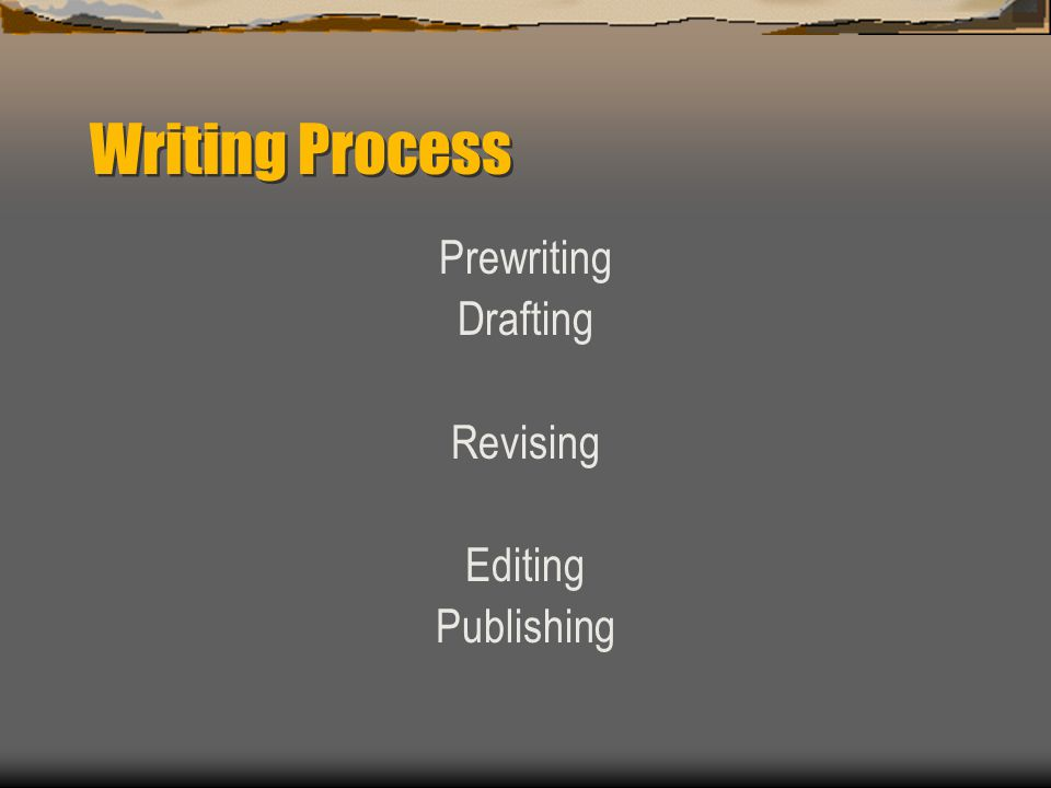 Writing Process Prewriting Drafting Revising Editing Publishing