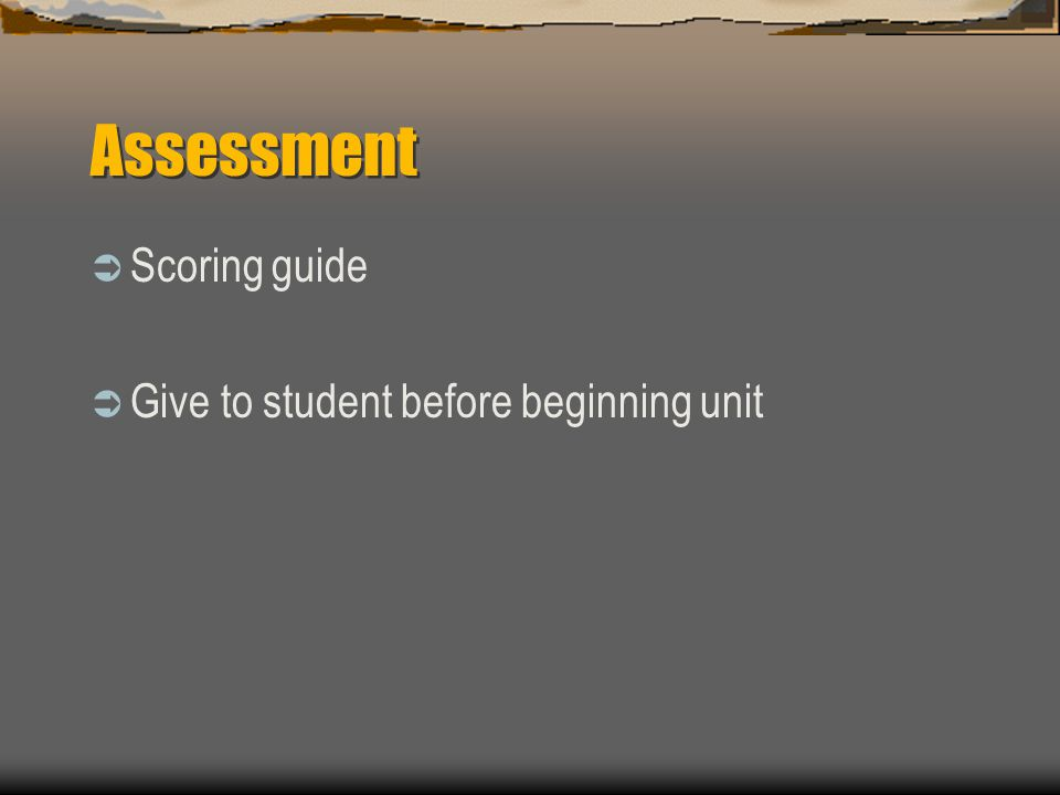 Assessment  Scoring guide  Give to student before beginning unit