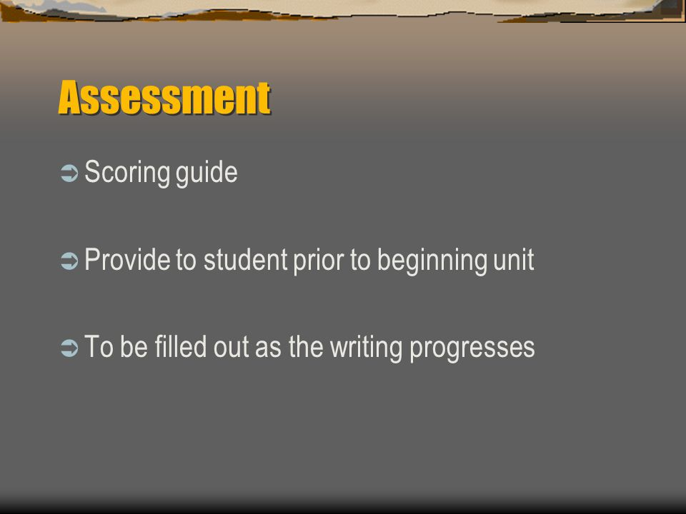Assessment  Scoring guide  Provide to student prior to beginning unit  To be filled out as the writing progresses