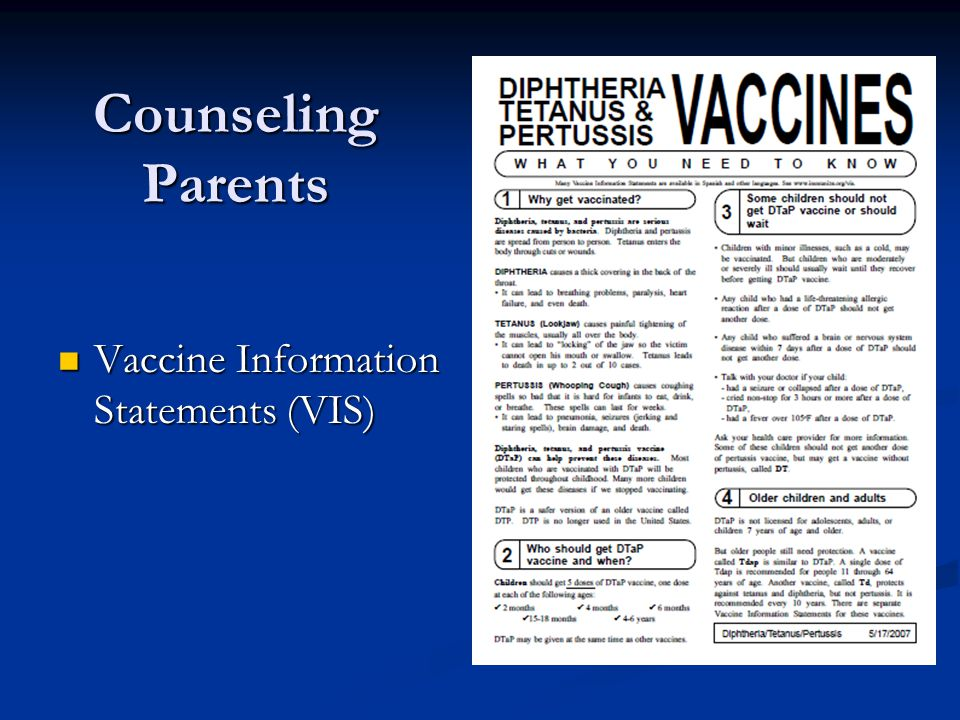 Counseling Parents Vaccine Information Statements (VIS) Vaccine Information Statements (VIS)
