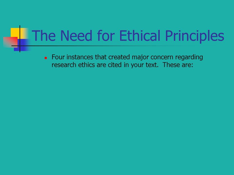 The Need for Ethical Principles Four instances that created major concern regarding research ethics are cited in your text. These are: