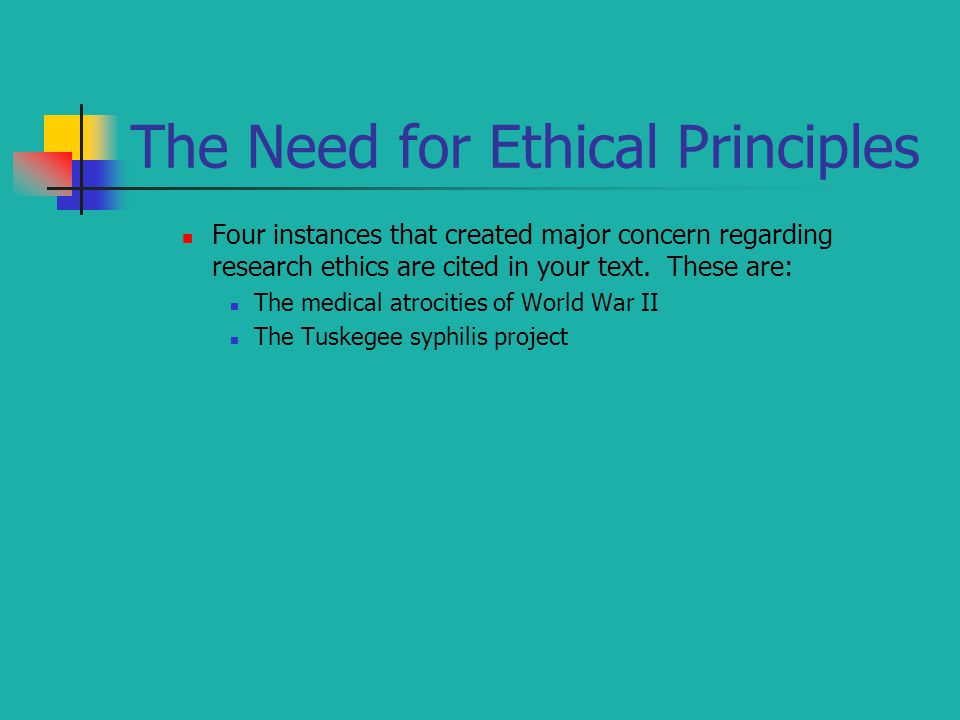 The Need for Ethical Principles Four instances that created major concern regarding research ethics are cited in your text. These are: The medical atr