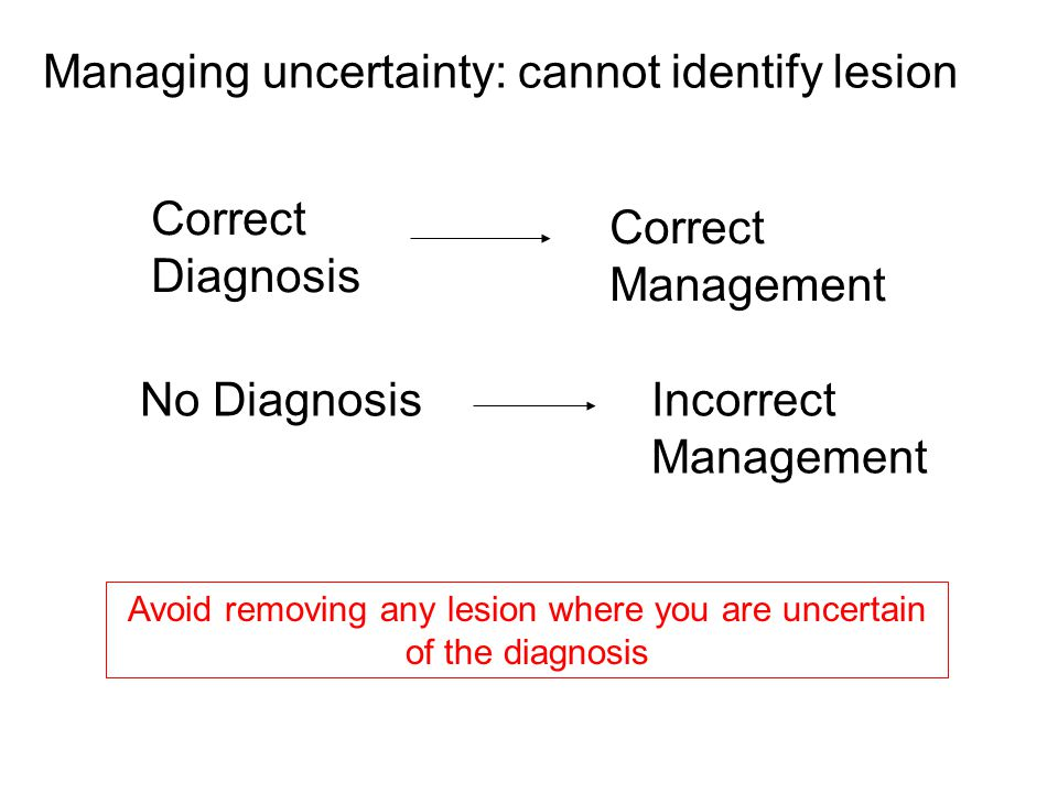 Correct Diagnosis Correct Management No DiagnosisIncorrect Management Managing uncertainty: cannot identify lesion Avoid removing any lesion where you are uncertain of the diagnosis