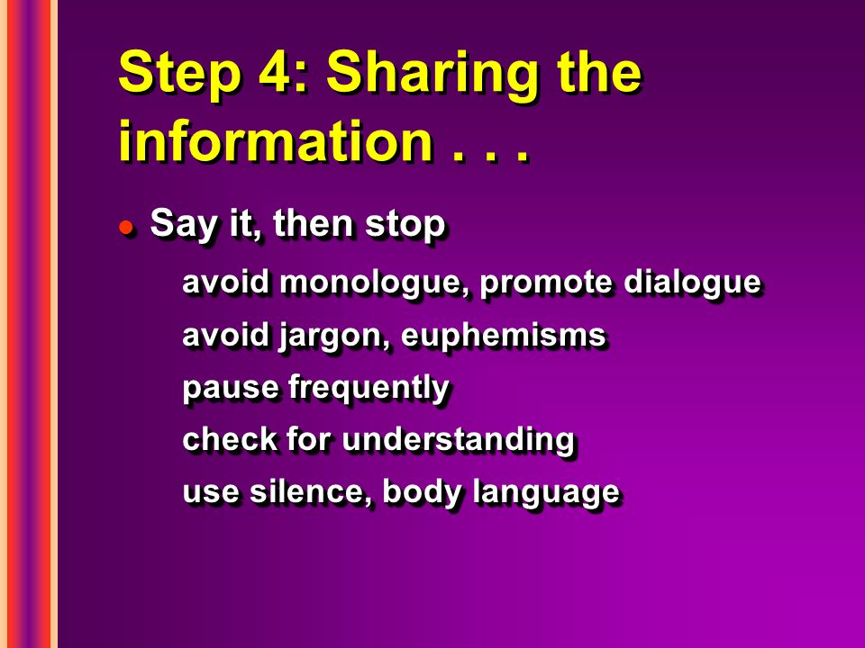 Step 4: Sharing the information...