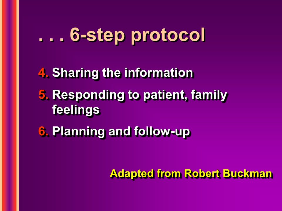 ... 6-step protocol 4. Sharing the information 5.