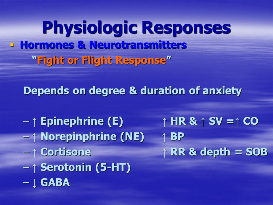 Physiologic Responses  Hormones & Neurotransmitters Fight or Flight Response Depends on degree & duration of anxiety – ↑ Epinephrine (E) ↑ HR & ↑ SV = ↑ CO – ↑ Norepinphrine (NE) ↑ BP – ↑ Cortisone ↑ RR & depth = SOB – ↑ Serotonin (5-HT) – ↓ GABA