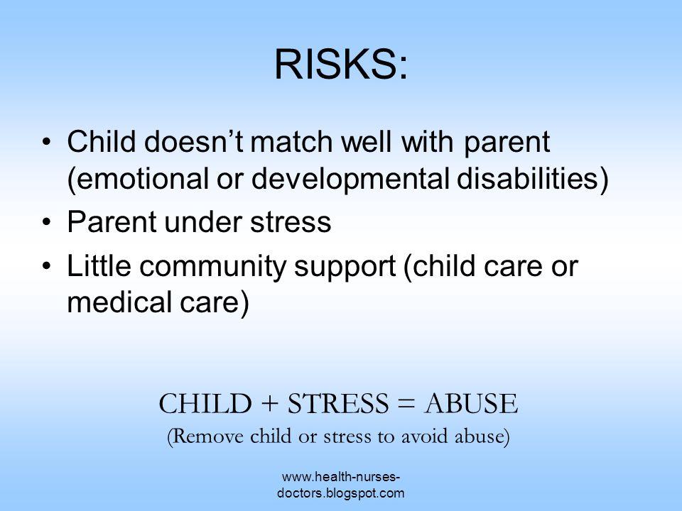 www.health-nurses- doctors.blogspot.com RISKS: Child doesn't match well with parent (emotional or developmental disabilities) Parent under stress Litt