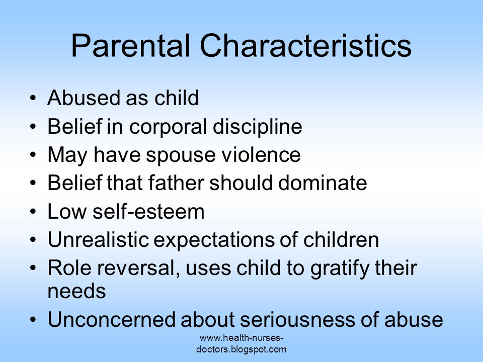 www.health-nurses- doctors.blogspot.com Parental Characteristics Abused as child Belief in corporal discipline May have spouse violence Belief that fa