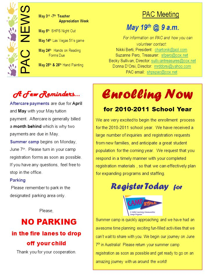 Enrolling Now for 2010-2011 School Year We are very excited to begin the enrollment process for the 2010-2011 school year. We have received a large nu