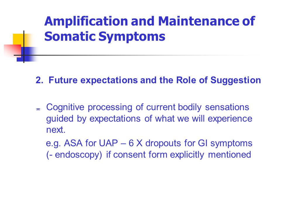 Amplification and Maintenance of Somatic Symptoms 2. Future expectations and the Role of Suggestion  Cognitive processing of current bodily sensation
