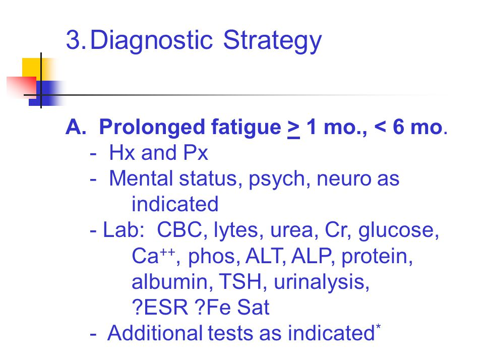 3.Diagnostic Strategy A. Prolonged fatigue > 1 mo., < 6 mo. - Hx and Px - Mental status, psych, neuro as indicated - Lab: CBC, lytes, urea, Cr, glucos