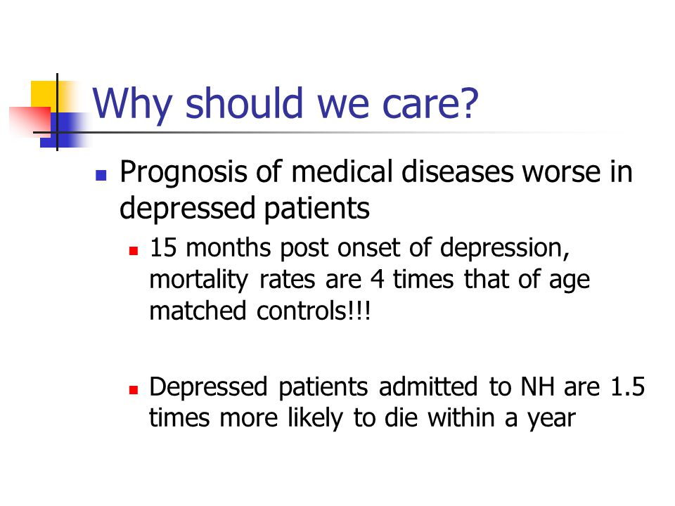 Why should we care? Prognosis of medical diseases worse in depressed patients 15 months post onset of depression, mortality rates are 4 times that of