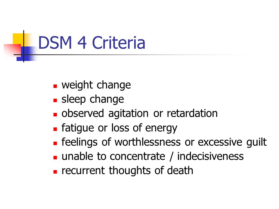 DSM 4 Criteria weight change sleep change observed agitation or retardation fatigue or loss of energy feelings of worthlessness or excessive guilt una