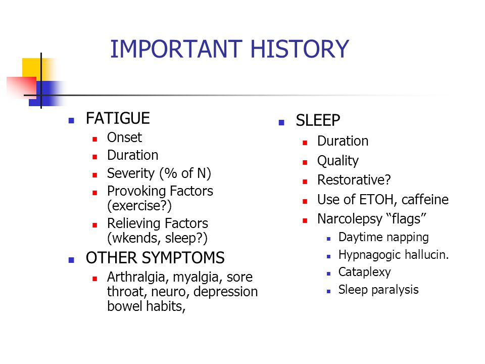 IMPORTANT HISTORY FATIGUE Onset Duration Severity (% of N) Provoking Factors (exercise?) Relieving Factors (wkends, sleep?) OTHER SYMPTOMS Arthralgia,