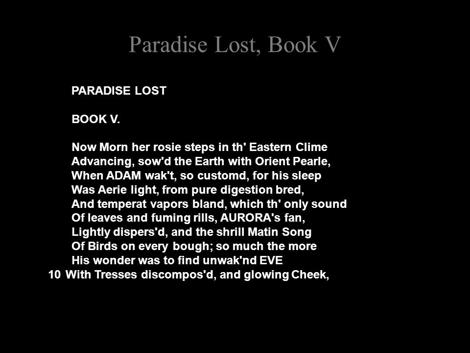 Paradise Lost, Book V PARADISE LOST BOOK V.