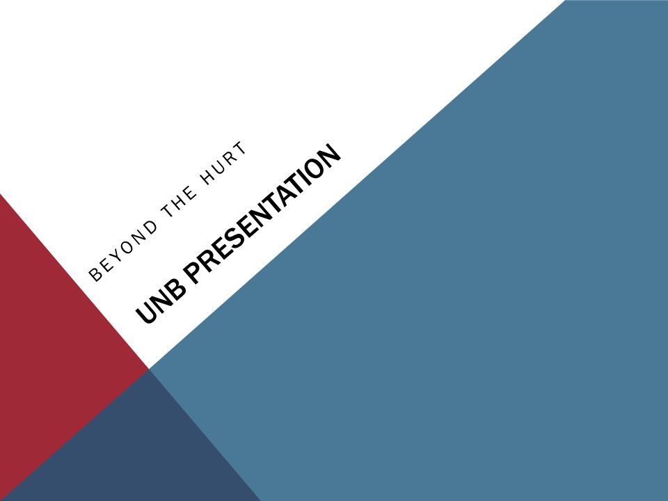 UNB PRESENTATION BEYOND THE HURT