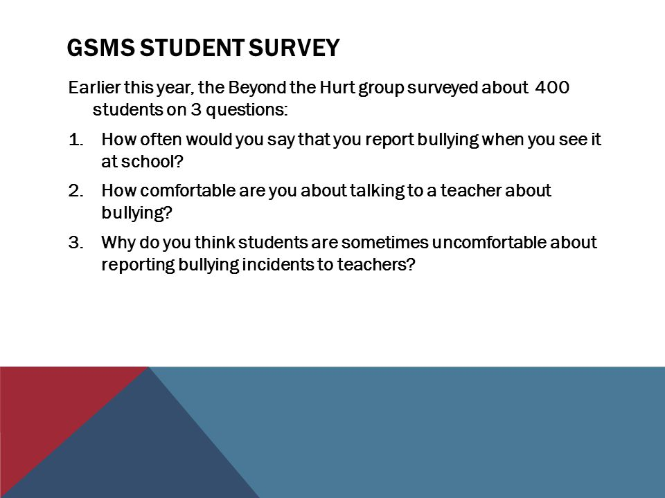 GSMS STUDENT SURVEY Earlier this year, the Beyond the Hurt group surveyed about 400 students on 3 questions: 1.How often would you say that you report