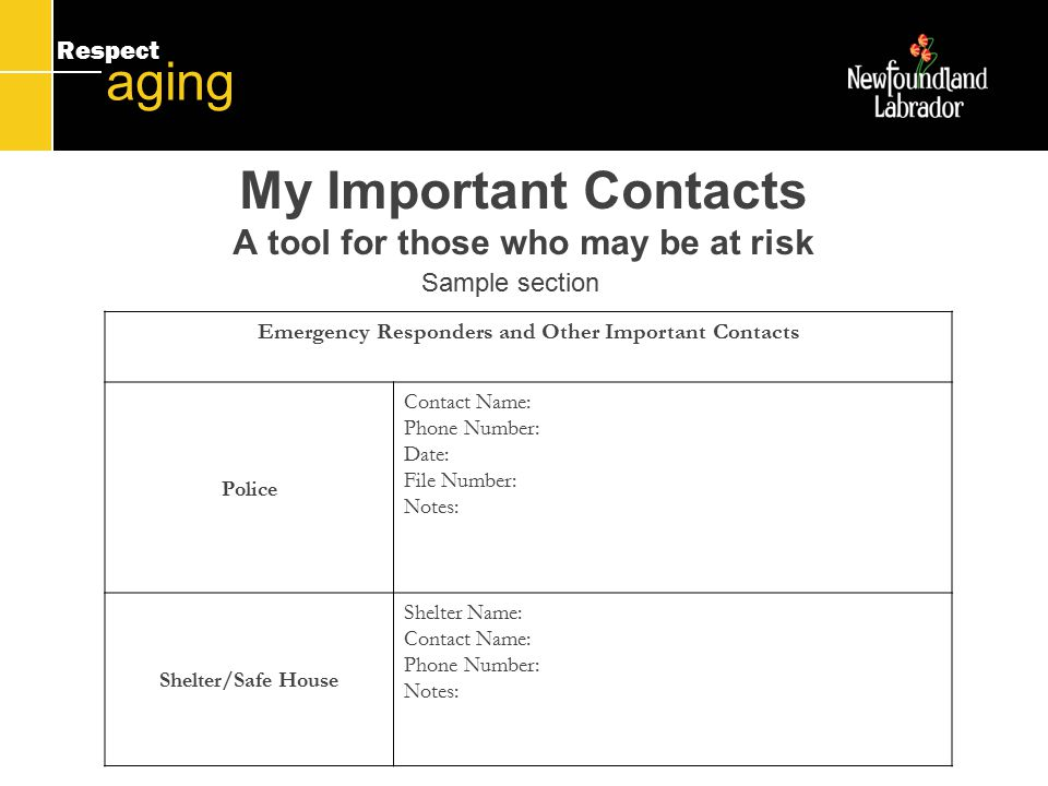 Respect aging My Important Contacts A tool for those who may be at risk Emergency Responders and Other Important Contacts Police Contact Name: Phone Number: Date: File Number: Notes: Shelter/Safe House Shelter Name: Contact Name: Phone Number: Notes: Sample section