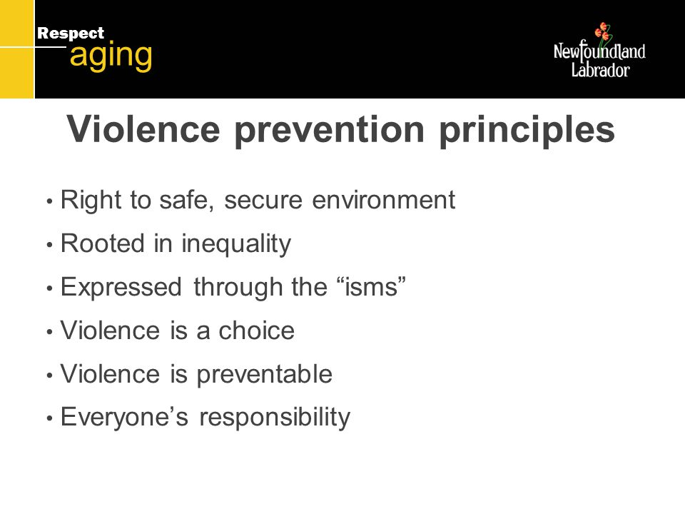Respect aging Violence prevention principles Right to safe, secure environment Rooted in inequality Expressed through the isms Violence is a choice Violence is preventable Everyone's responsibility