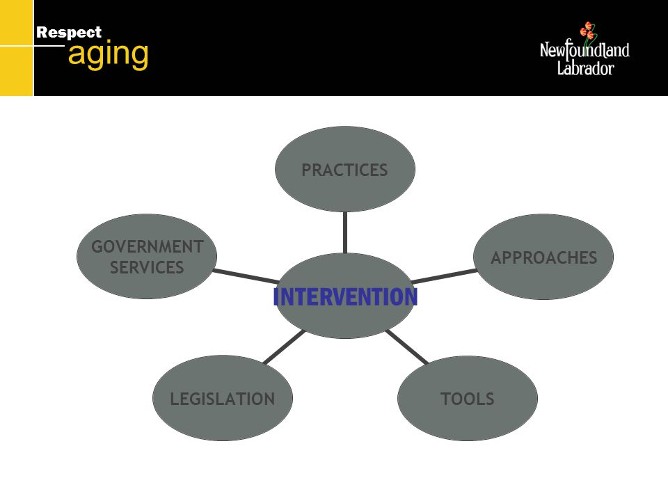 Respect aging INTERVENTION PRACTICESAPPROACHESTOOLSLEGISLATION GOVERNMENT SERVICES
