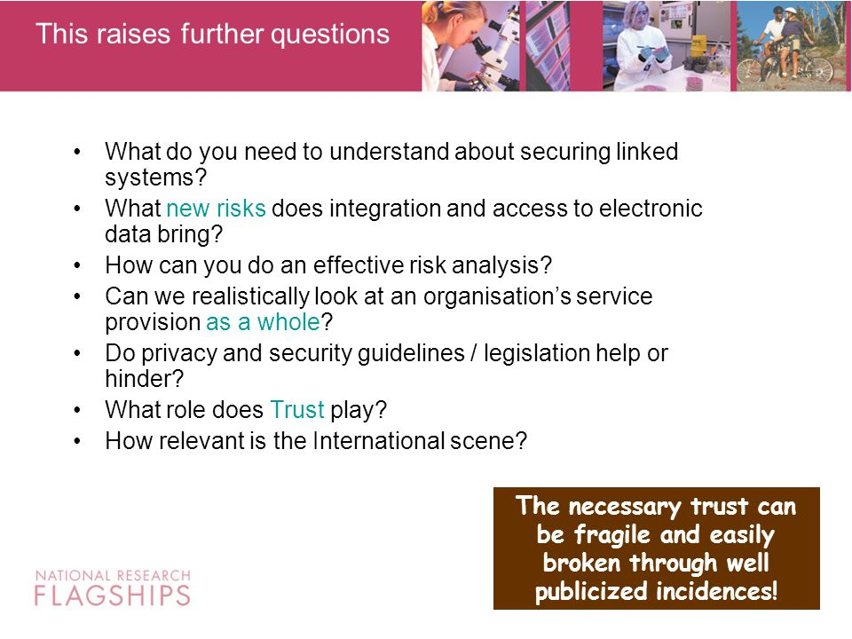 My study has identified that the main risks as seen by the data custodians include: Contacting the wrong people, i.e.