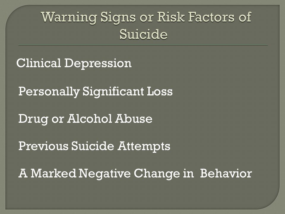 Clinical Depression Personally Significant Loss Drug or Alcohol Abuse Previous Suicide Attempts A Marked Negative Change in Behavior