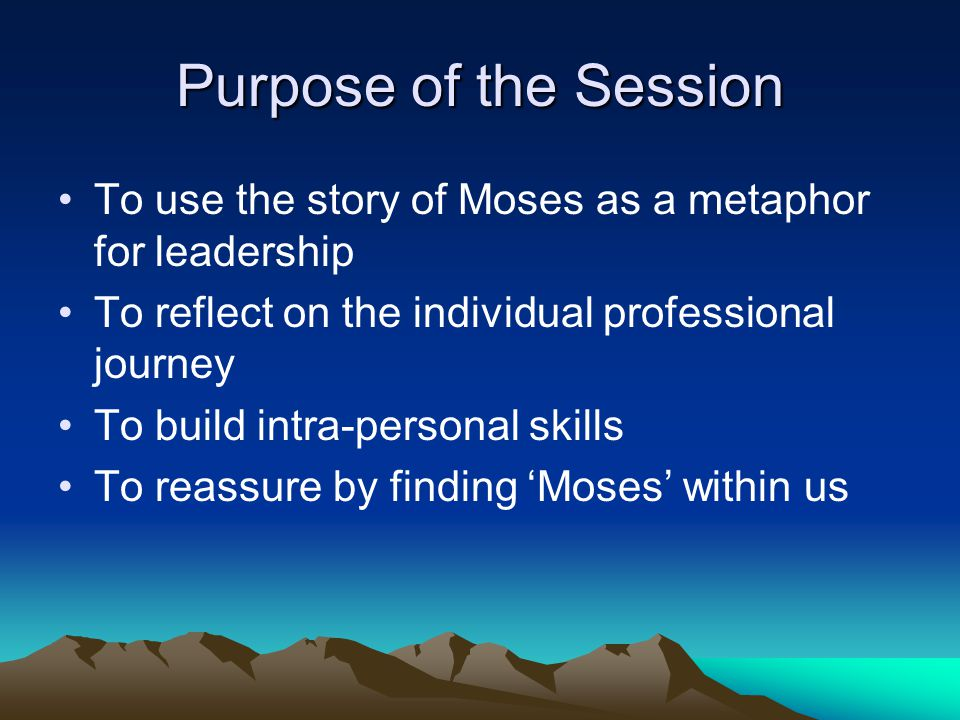 Introduction There are many similarities with the Exodus story and leading a school: Operating in adversity Your direction can be dependant upon an externally imposed vision.