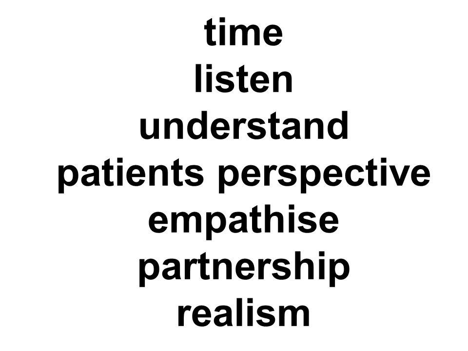 time listen understand patients perspective empathise partnership realism