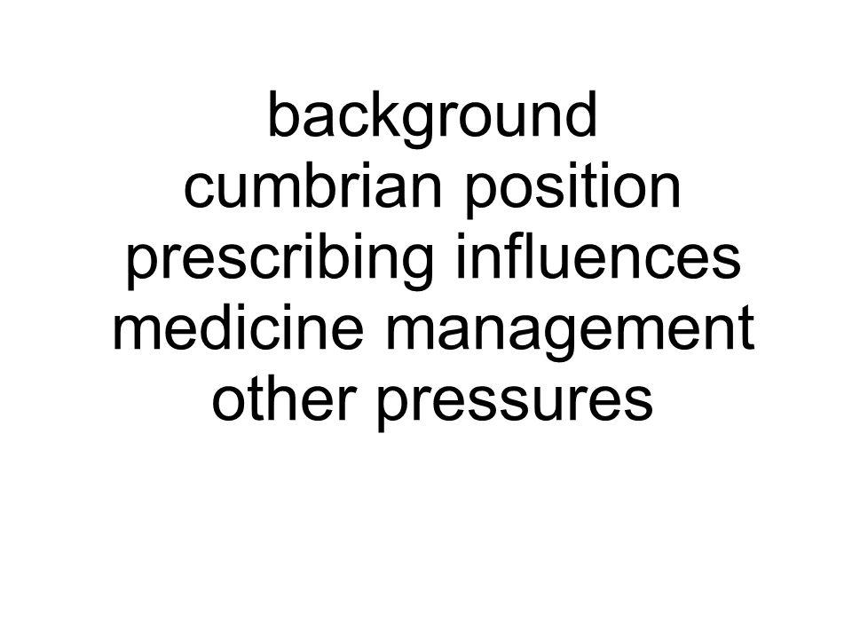prescribing influences medicine management other pressures cumbrian position background