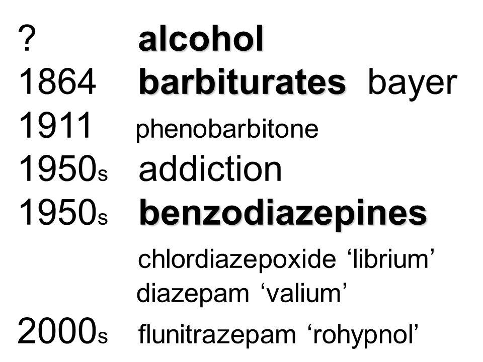 alcohol ? alcohol barbiturates 1864 barbiturates bayer 1911 phenobarbitone 1950 s addiction benzodiazepines 1950 s benzodiazepines chlordiazepoxide 'l