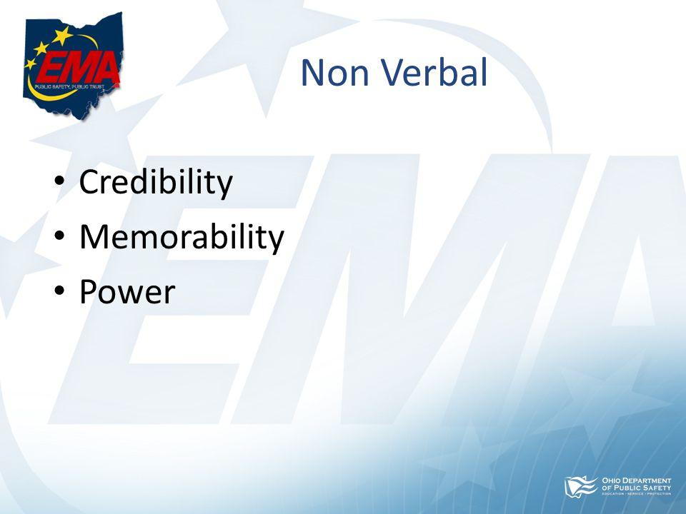 Non Verbal Credibility Memorability Power