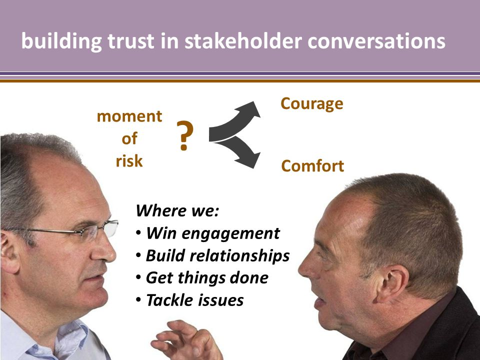 building trust in stakeholder conversations Where we: Win engagement Build relationships Get things done Tackle issues moment of risk .