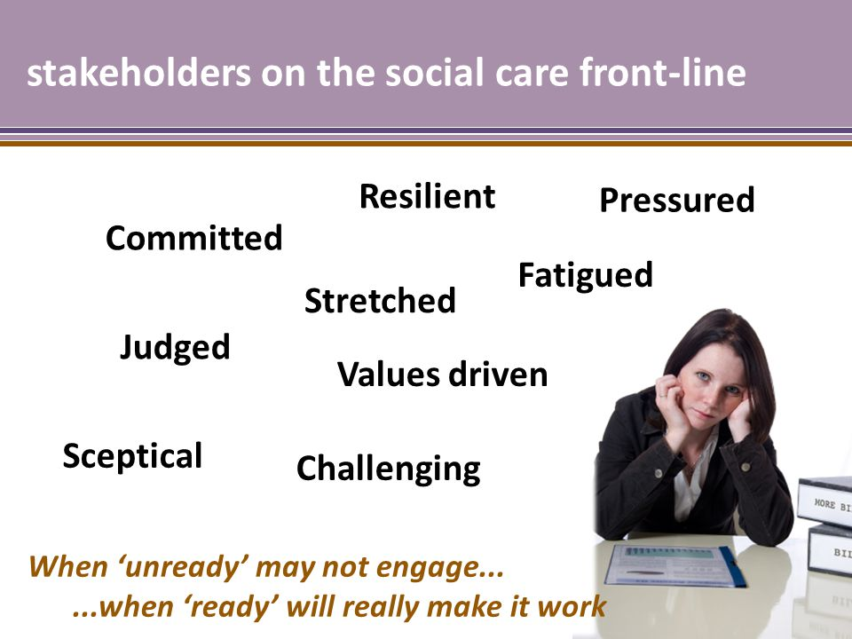 stakeholders on the social care front-line Committed Stretched Sceptical Fatigued Judged Challenging Values driven When 'unready' may not engage......when 'ready' will really make it work Resilient Pressured