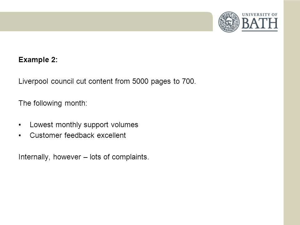 Example 2: Liverpool council cut content from 5000 pages to 700.