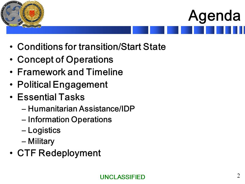 UNCLASSIFIED 13 Phase IV Stage 3 – Transition (UN In Charge) Phase begins with transfer of omd to UNMEP.
