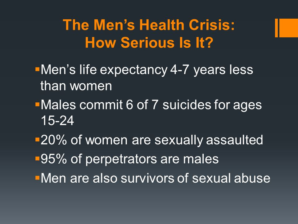 The Men's Health Crisis: How Serious Is It.