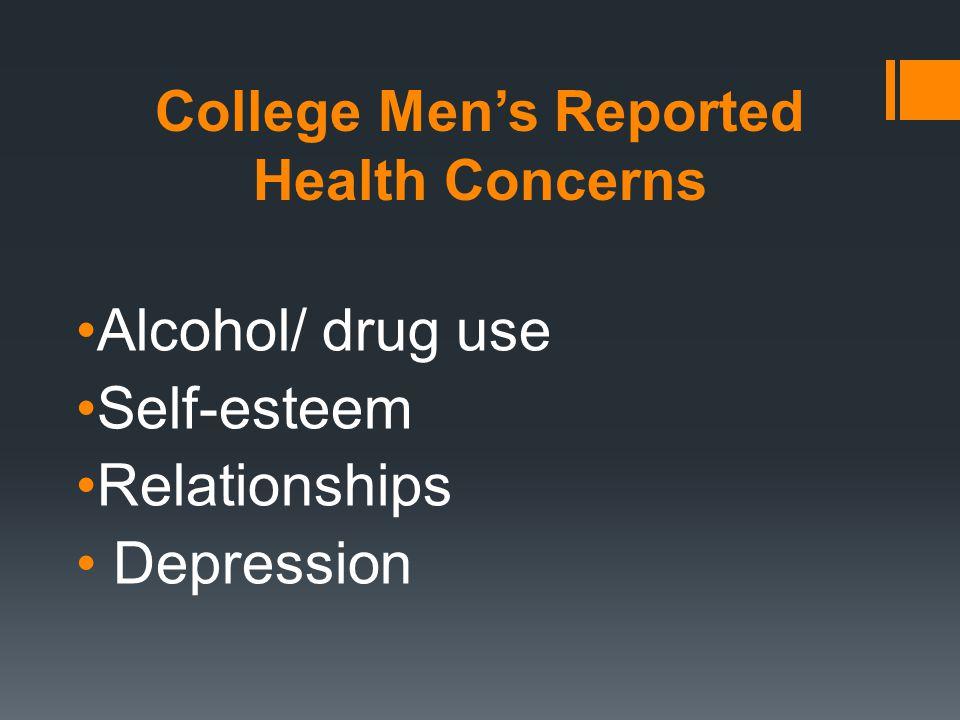 College Men's Reported Health Concerns Alcohol/ drug use Self-esteem Relationships Depression
