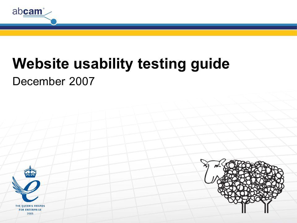 Website usability testing guide December 2007