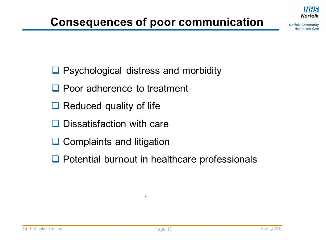GP Refresher Course Page 10 Spring 2010 Consequences of poor communication  Psychological distress and morbidity  Poor adherence to treatment  Reduced quality of life  Dissatisfaction with care  Complaints and litigation  Potential burnout in healthcare professionals