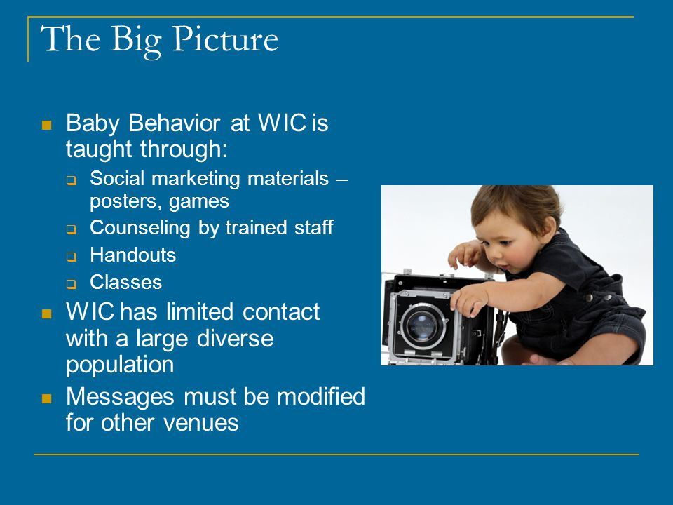 The Big Picture Baby Behavior at WIC is taught through:  Social marketing materials – posters, games  Counseling by trained staff  Handouts  Classes WIC has limited contact with a large diverse population Messages must be modified for other venues
