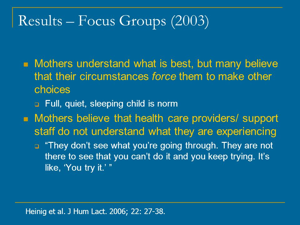 Results – Focus Groups (2003) Mothers understand what is best, but many believe that their circumstances force them to make other choices  Full, quiet, sleeping child is norm Mothers believe that health care providers/ support staff do not understand what they are experiencing  They don't see what you're going through.