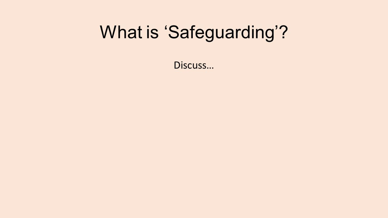 What is 'Safeguarding'? Discuss…