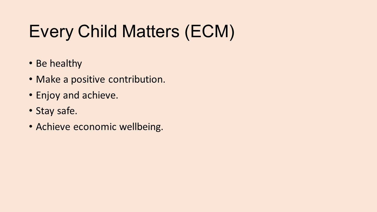 Every Child Matters (ECM) Be healthy Make a positive contribution.