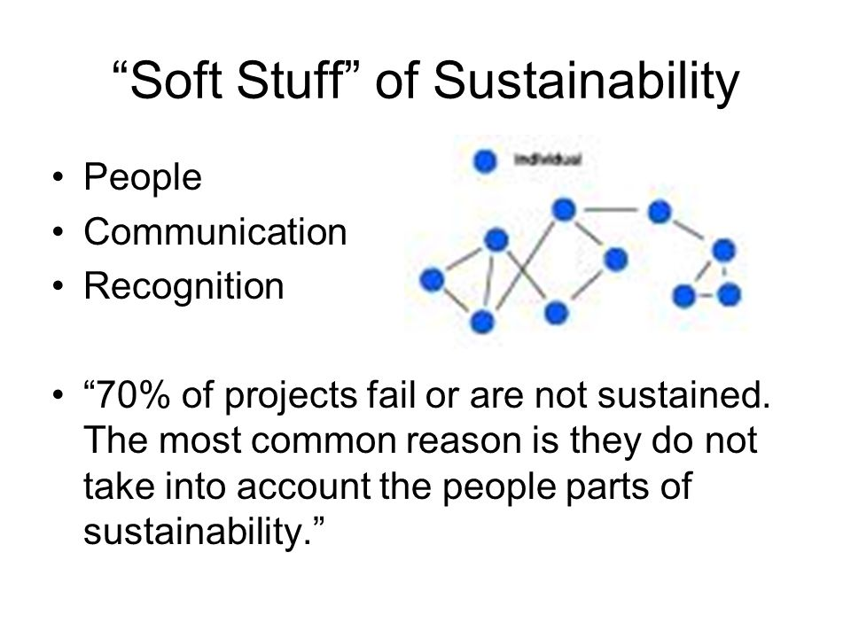Soft Stuff of Sustainability People Communication Recognition 70% of projects fail or are not sustained.