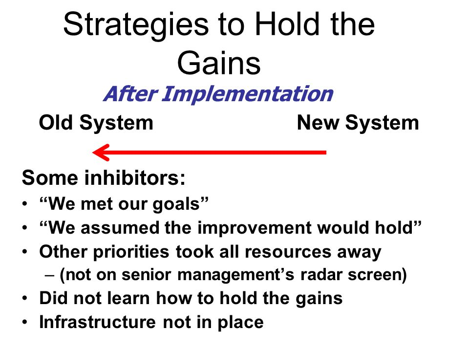 Old System New System Some inhibitors: We met our goals We assumed the improvement would hold Other priorities took all resources away –(not on senior management's radar screen) Did not learn how to hold the gains Infrastructure not in place Strategies to Hold the Gains After Implementation
