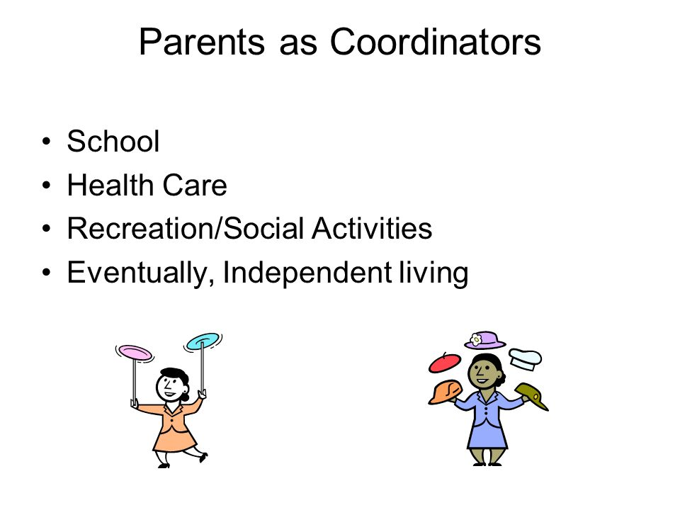 Parents as Coordinators School Health Care Recreation/Social Activities Eventually, Independent living
