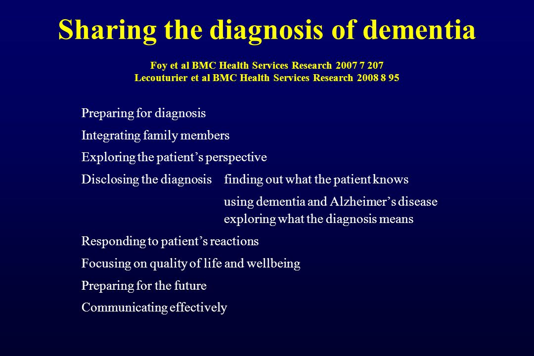 Sharing the diagnosis of dementia Foy et al BMC Health Services Research 2007 7 207 Lecouturier et al BMC Health Services Research 2008 8 95 Preparing for diagnosis Integrating family members Exploring the patient's perspective Disclosing the diagnosis finding out what the patient knows using dementia and Alzheimer's disease exploring what the diagnosis means Responding to patient's reactions Focusing on quality of life and wellbeing Preparing for the future Communicating effectively